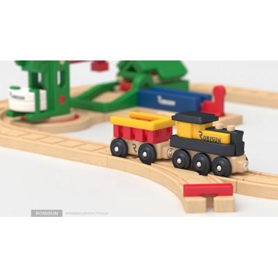 Деревянная железная дорога Robisun Пилорама 32 элемента