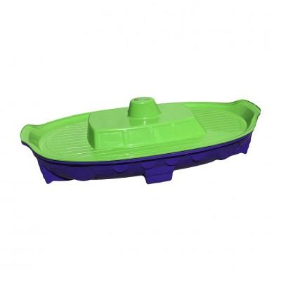 Песочница с крышкой Долони Корабль сине-салатовая