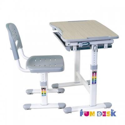 Растущая парта и стул FunDesk Piccolino Grey