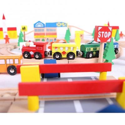 Деревянная железная дорога ECOTOYS 100 элементов