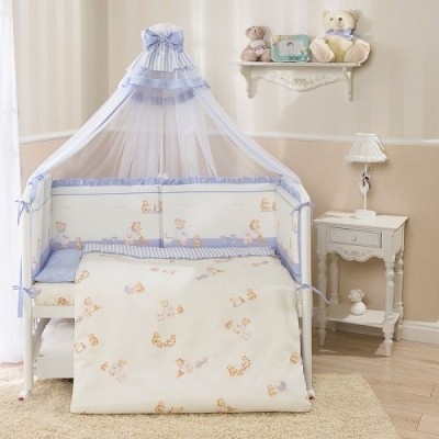 Комплект в кроватку Перина Тиффани Неженка голубая из 9 предметов