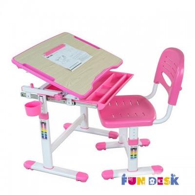 Детская парта-трансформер и регулируемый стул FunDesk Bambino Pink