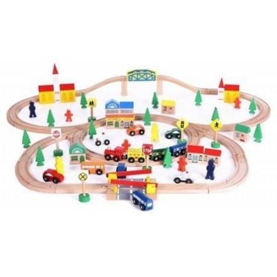 Деревянная железная дорога Wooden Toys 100 элементов