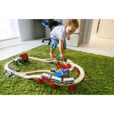 Деревянная железная дорога Kinderplay 80 элементов