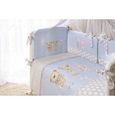 Детский постельный комплект «Венеция» 10 предметов лапушки голубые
