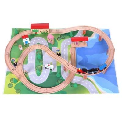 Деревянная железная дорога ECOTOYS 50 элементов