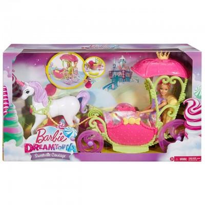 Набор Барби Дримтопия Конфетная карета с единорогом и куклой DYX31