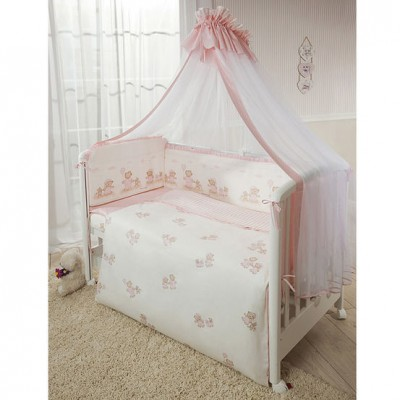 Комплект в кроватку Перина Тиффани Неженка розовая из 6 предметов
